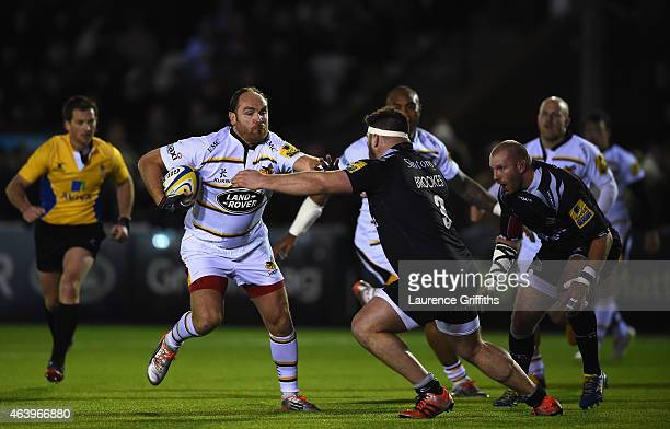 Andy Goode of Wasps holds off Kieran Brookes of Newcastle Falcons during the Aviva Premiership match between Newcastle Falcons and Wasps at Kingston...