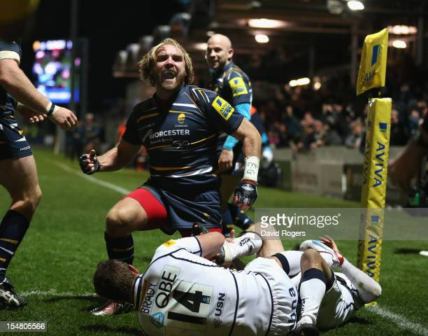 Andy Goode of Worcester celebrates after scoring a try during the Aviva Premiership match between Worcester Warriors and Sale Sharks at Sixways...
