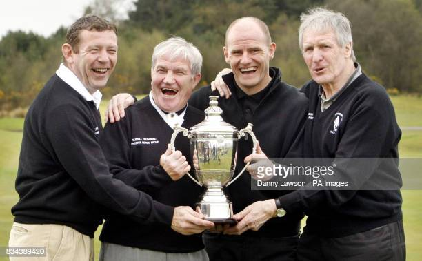 Andy Goram Bertie Auld Gordon Dury and Billy McNeill at the Westerwood Hotel golf club in Cumbernauld ahead of the Jinky Johnstone Golf Challenge