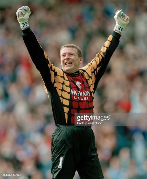Andy Goram of Glasgow Rangers celebrates circa 1994