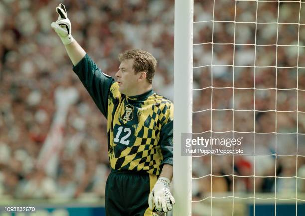 Andy Goram of Scotland organises his defence during the UEFA Euro 1996 Group A match between England and Scotland at Wembley Stadium on June 15 1996...