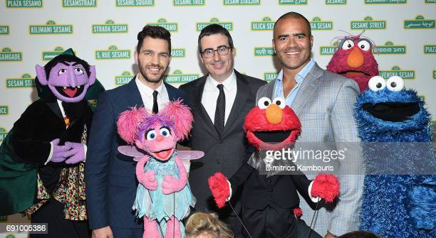 Andy Grammer John Oliver Chris Jackson and The Muppets attend The 2017 Sesame Workshop Dinner at Cipriani 42nd Street on May 31 2017 in New York City