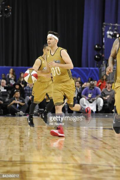 Andy Grammer of the West Team drives the ball against the East Team during the NBA AllStar Celebrity Game as a part of 2017 AllStar Weekend at the...