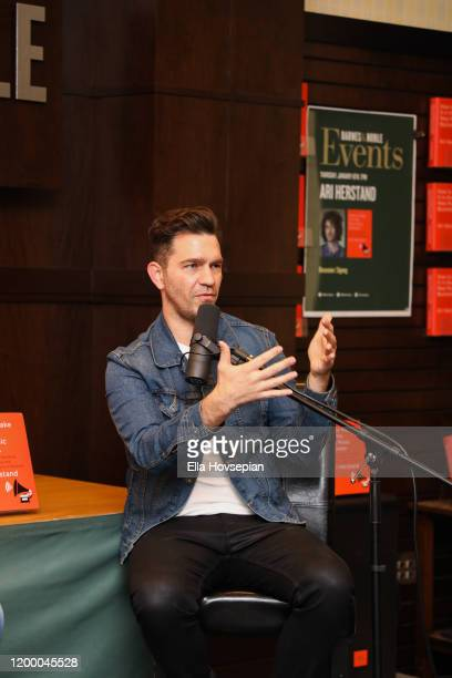Andy Grammer speaks with Ari Herstand about the new book How To Make It in the New Music Business at Barnes Noble at The Grove on January 16 2020 in...