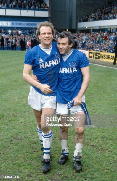 Andy Gray and Peter Reid of Everton celebrate after the Canon League Division One match between Everton and Queens Park Rangers at Goodison Park on...