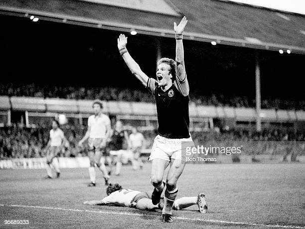 Andy Gray celebrates after scoring Aston Villa's first goal against Fenerbahce in their UEFA Cup 1st round 1st leg match at Villa Park in Birmingham,...