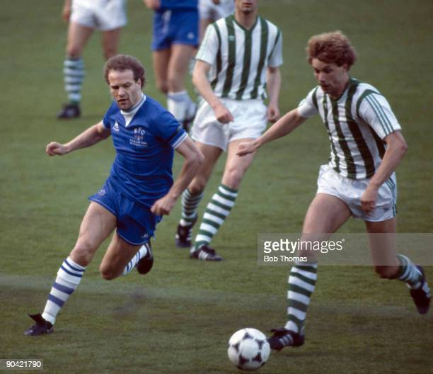 Andy Gray of Everton moves in to tackle Rapid Vienna's Pater Hrstic during the Everton v Rapid Vienna UEFA European Cup Winners Cup Final played in...
