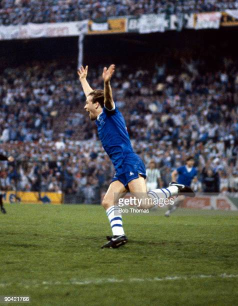 Andy Gray scores Everton's first goal during the Everton v Rapid Vienna UEFA European Cup Winners Cup Final played in Rotterdam, Holland on the 15th...