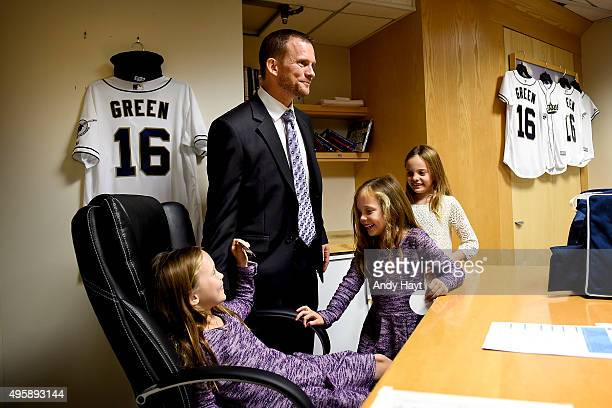 Andy Green and his family visit his new office prior to the press conference introducing Green as the new Manager of the San Diego Padres at Petco...