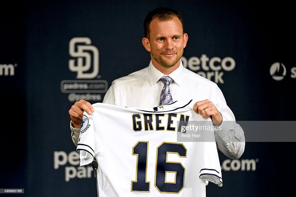 Andy Green displays a jersey to the media at a press conference introducing him as the new Manager of the San Diego Padres at Petco Park on October 23, 2015 in San Diego, California.