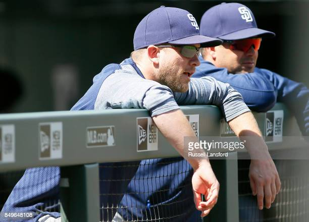 Andy Green of the San Diego Padres during a regular season MLB game between the Colorado Rockies and the visiting San Diego Padres at Coors Field on...