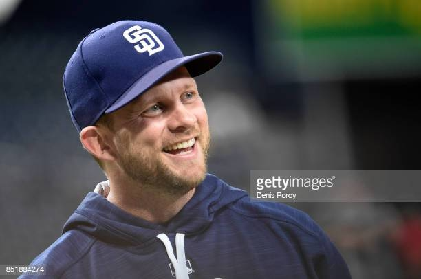 Andy Green of the San Diego Padres looks on before a baseball game against the Arizona Diamondbacks at PETCO Park on September 18 2017 in San Diego...