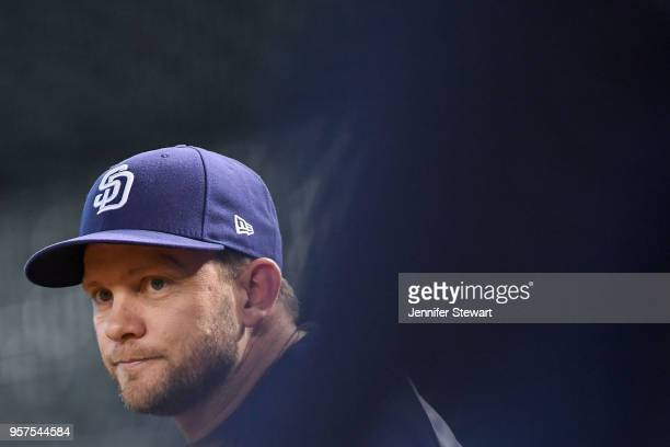 Andy Green of the San Diego Padres looks on prior to the MLB game against the Arizona Diamondbacks at Chase Field on April 21 2018 in Phoenix Arizona...