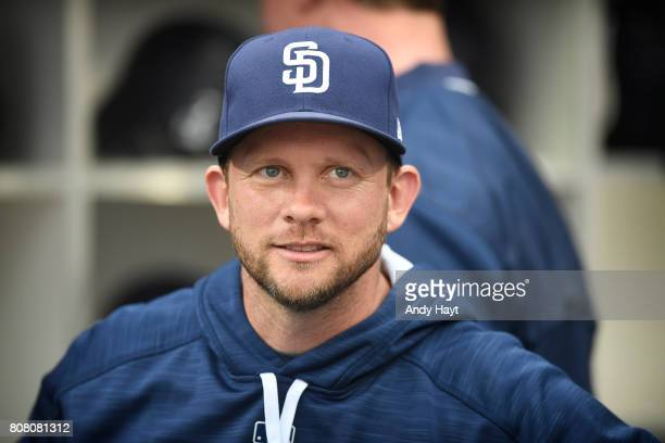 Andy Green of the San Diego Padres waits for the start of the game against the Atlanta Braves at Petco Park on June 28 2017 in San Diego California