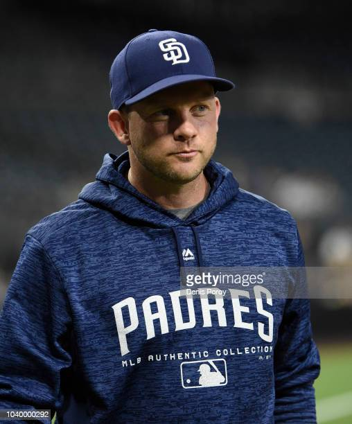 Andy Green of the San Diego Padres walks off the field before a baseball game against the San Francisco Giants at PETCO Park on September 17 2018 in...