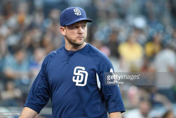 Andy Green of the San Diego Padres walks off the field during of a baseball game against the Arizona Diamondbacks at PETCO Park on September 29 2018...
