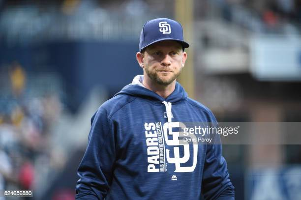 Andy Green of the San Diego Padres walks on the field before a baseball game against the New York Mets at PETCO Park on July 24 2017 in San Diego...
