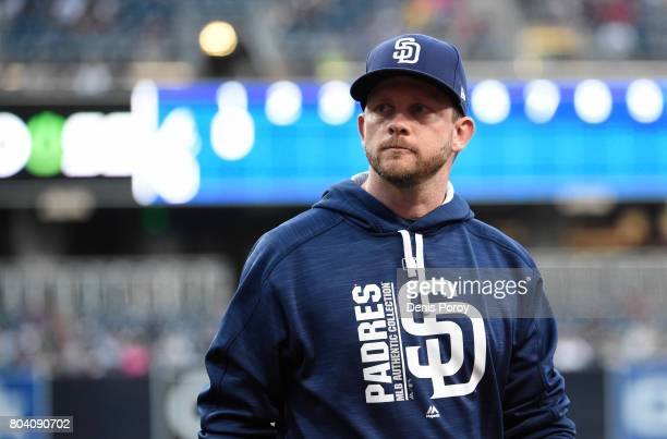 Andy Green of the San Diego Padres walks on the field during a baseball game against the Atlanta Braves at PETCO Park on June 27 2017 in San Diego...