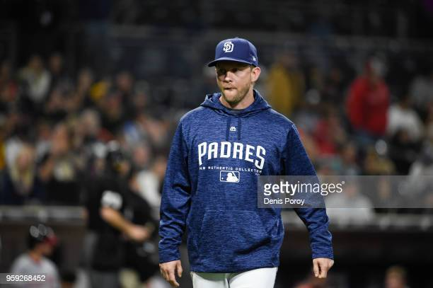 Andy Green of the San Diego Padres walks on the field during a baseball game against Washington Nationals at PETCO Park on May 8 2018 in San Diego...