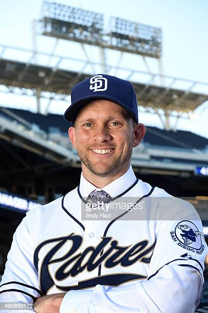 Andy Green poses for a portrait after a press conference introducing him as the new Manager of the San Diego Padres at Petco Park on October 23 2015...