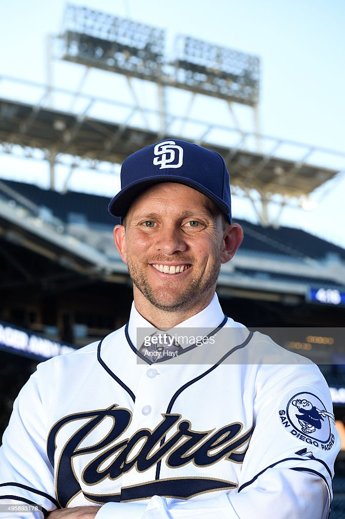 Andy Green poses for a portrait after a press conference introducing him as the new Manager of the San Diego Padres at Petco Park on October 23, 2015 in San Diego, California.