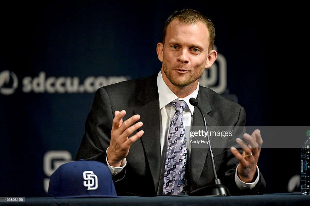Andy Green talks to media at a press conference introducing him as the new Manager of the San Diego Padres at Petco Park on October 23, 2015 in San Diego, California.