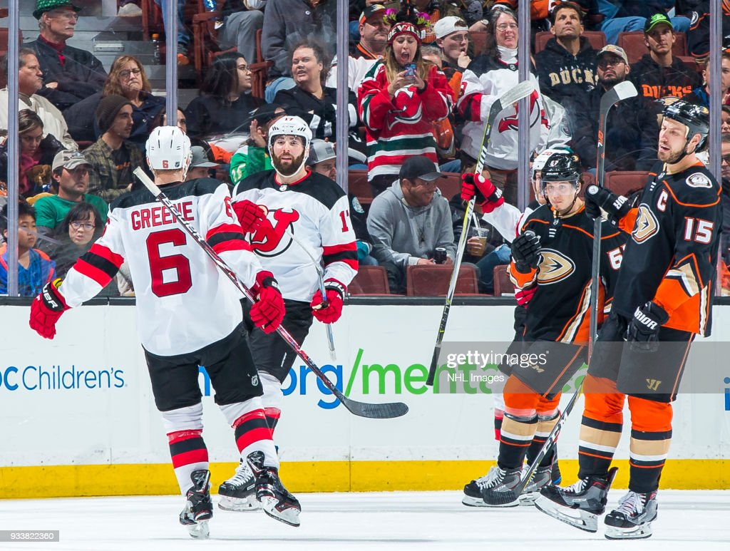 buy online 25e3b 6e81e Andy Greene and Patrick Maroon of the New Jersey Devils ...