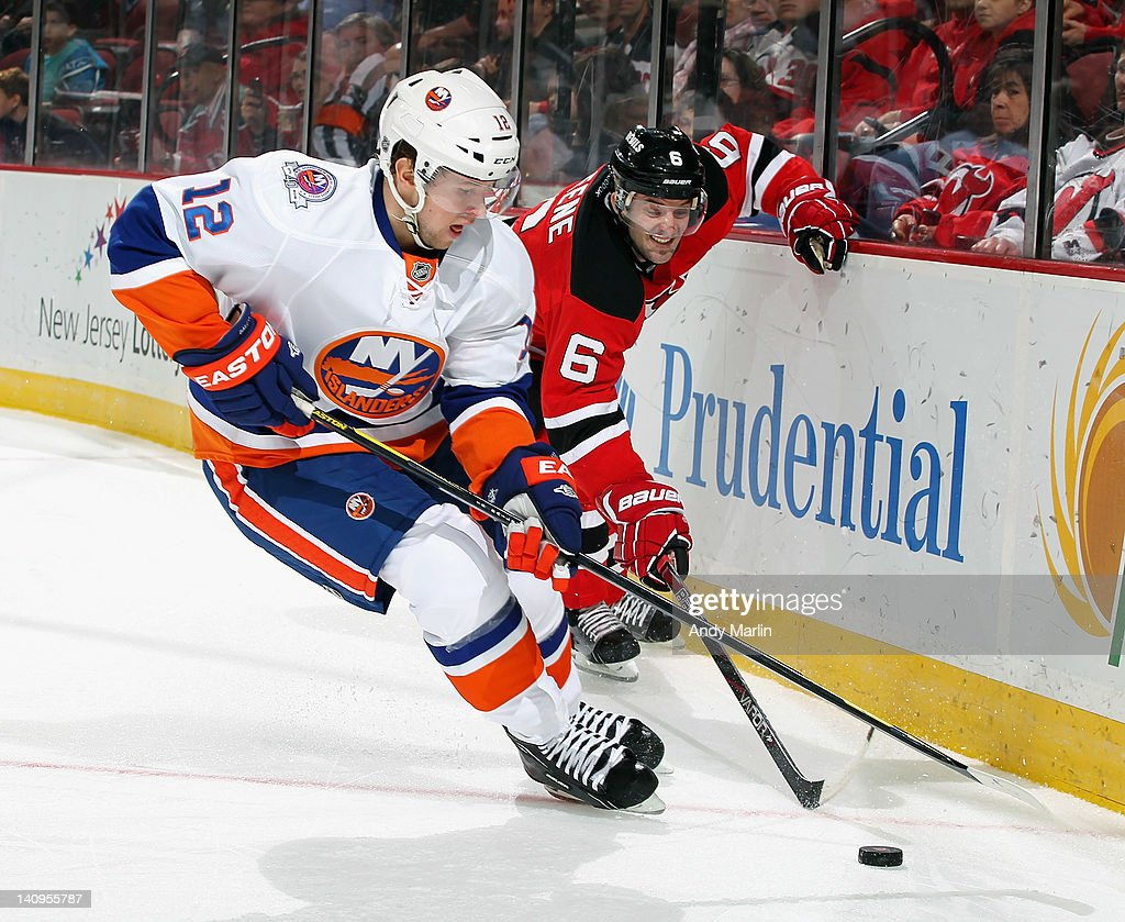 best service 5771c dc359 Andy Greene of the New Jersey Devils and Josh Bailey of the ...