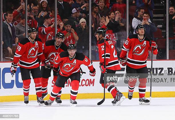 Andy Greene of the New Jersey Devils celebrates his game tying goal in the third period against the Anaheim Ducks during their game at the Prudential...