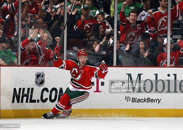 Andy Greene of the New Jersey Devils scores at 1657 of the first period against the Pittsburgh Penguins at the Prudential Center on March 17 2012 in...