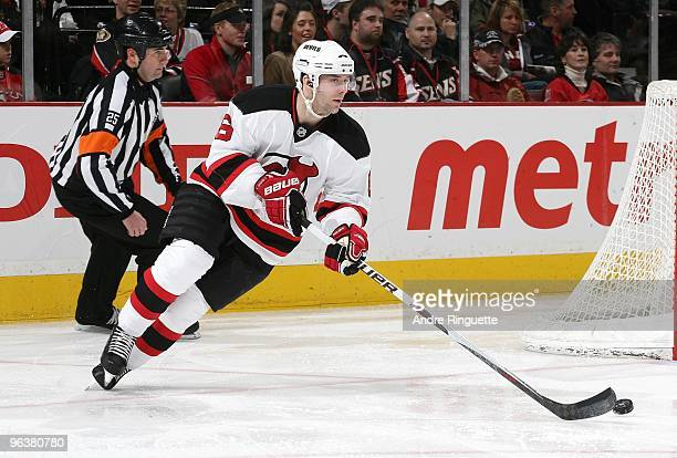 Andy Greene of the New Jersey Devils skates against the Ottawa Senators at Scotiabank Place on January 26 2010 in Ottawa Ontario Canada