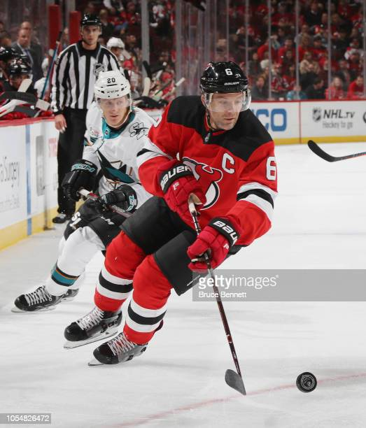 Andy Greene of the New Jersey Devils skates against the San Jose Sharks at the Prudential Center on October 14 2018 in Newark New Jersey The Devils...