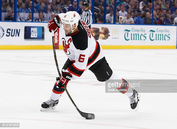 Andy Greene of the New Jersey Devils skates against the Tampa Bay Lightning during the second period at Amalie Arena on October 15 2016 in Tampa...