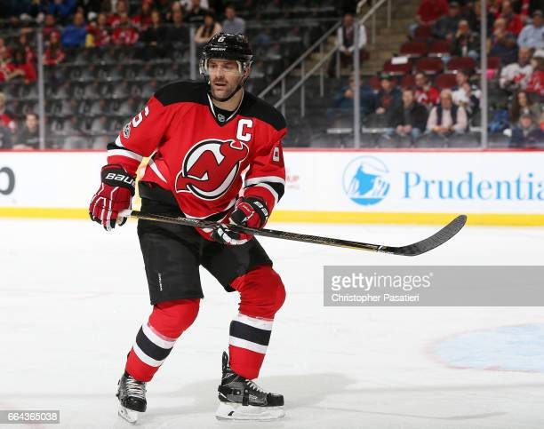 Andy Greene of the New Jersey Devils skates during the first period against the Winnipeg Jets on March 28 2017 at the Prudential Center in Newark New...
