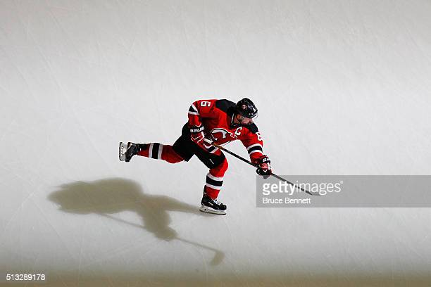Andy Greene of the New Jersey Devils skates in warmups prior to the game against the Carolina Hurricanes at the Prudential Center on March 1 2016 in...