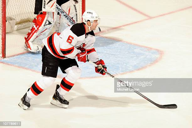 Andy Greene of the New Jersey Devils skates with the puck during a NHL hockey game against the Washington Capitals on December 21 2010 at the Verizon...