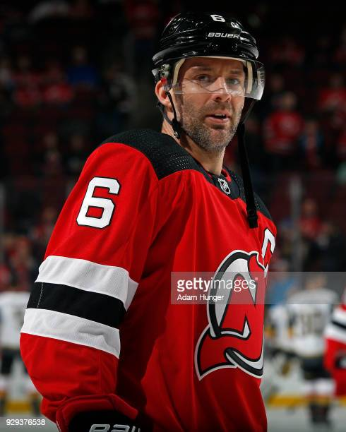 Andy Greene of the New Jersey Devils warms up prior to taking on the Vegas Golden Knights at the Prudential Center on March 4 2018 in Newark New...