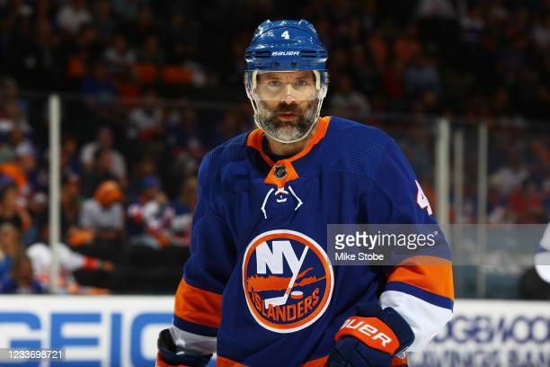 Andy Greene of the New York Islanders in action against the Tampa Bay Lightning in Game Six of the Stanley Cup Semifinals of the 2021 Stanley Cup...