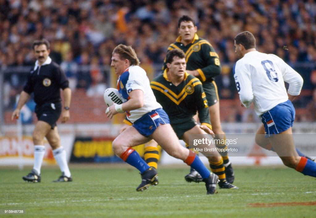 Andy Gregory of Wigan and Great Britain rugby league (with the ball) in action during their International match against Australia at Wembley Stadium in London on 27th October 1990. Great Britain won 19-12.