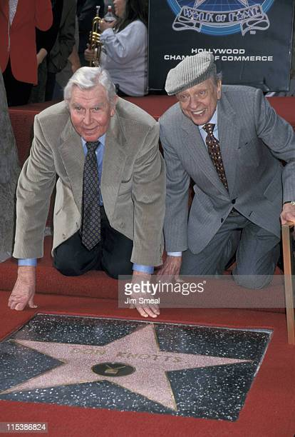 Andy Griffith and Don Knotts during Don Knotts Honored with a Star on the Hollywood Walk of Fame at Hollywood Boulevard in Hollywood, California,...