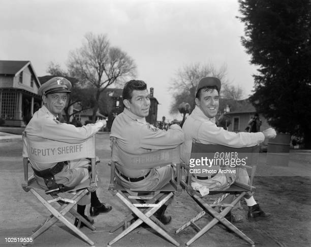 Andy Griffith as Sheriff Andy Taylor, Don Knotts as Deputy Barney Fife and Jim Nabors as Gomer Pyle during season 4. Image dated February 11, 1964....