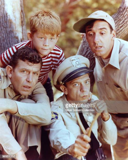 Andy Griffith as Sheriff Andy Taylor, Jim Nabors as Gomer Pyle, Ron Howard as Opie Taylor and Don Knotts as Deputy Barney Fife in 'The Andy Griffith...