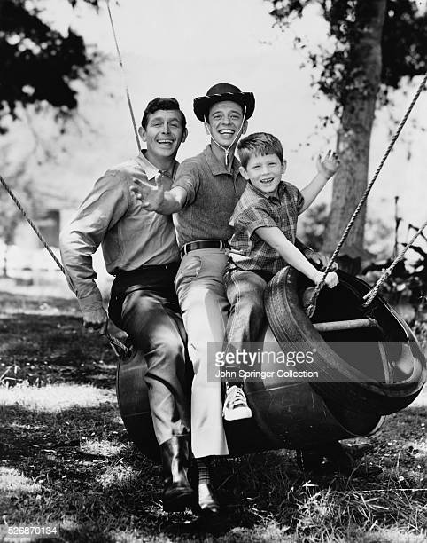 Andy Griffith Don Knotts and Ron Howard star together on the television series The Andy Griffith Show