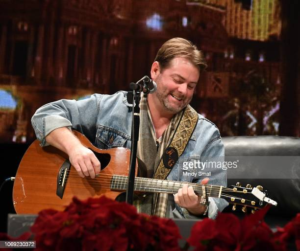 Andy Griggs performs onstage during the Outside the Barrel with Flint Rasmussen show during the National Finals Rodeo's Cowboy Christmas at the Las...