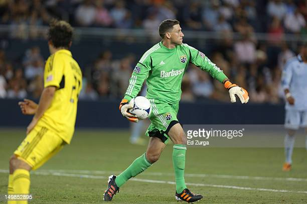 Andy Gruenebaum of the Columbus Crew throws the ball into play against the Sporting Kansas City in the second half at Livestrong Sporting Park on...