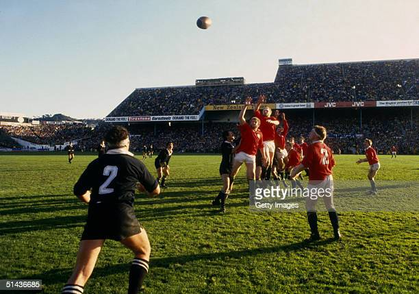 Andy Haden of New Zealand throws the ball in at a lineout during the second test match between New Zealand and the British Lions at Athletic Park on...