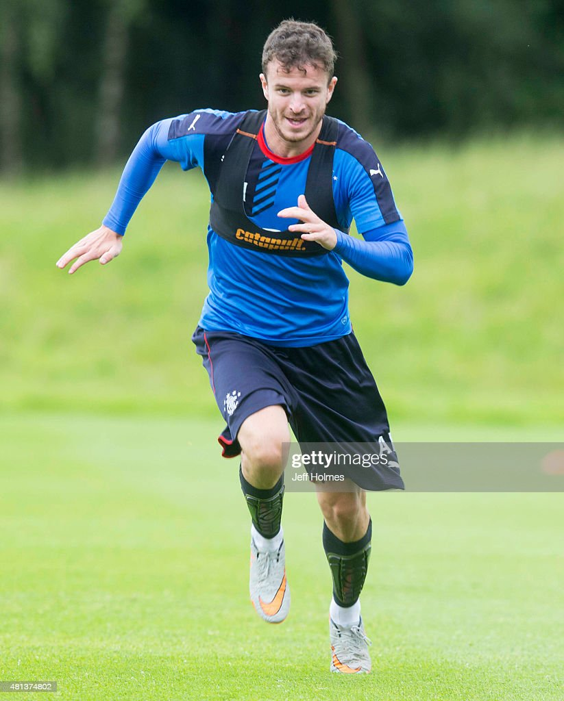 Andy Halliday of Rangers FC practices during a training session in Murray Park on July 20, 2015 in Glasgow, Scotland.