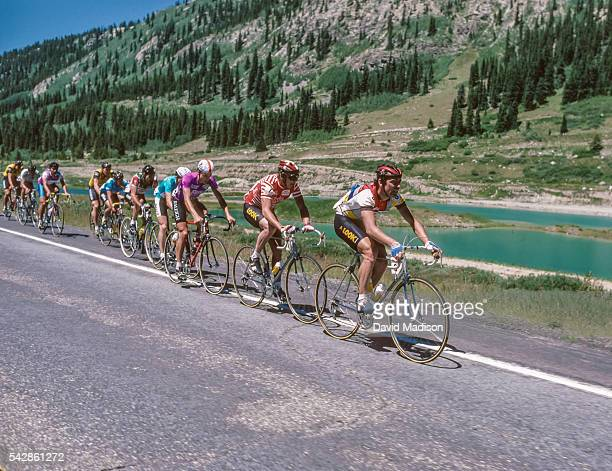 Andy Hampsten of the USA , Greg Lemond of the USA , and Bernard Hinault of France ride in the Vail to Copper Mountain stage of the 1985 Coors Classic...