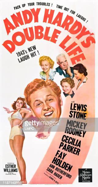 Andy Hardy's Double Life poster from lower left Esther Williams Mickey Rooney Cecilia Parker Lewis Stone Fay Holden Sara Haden on poster art 1942