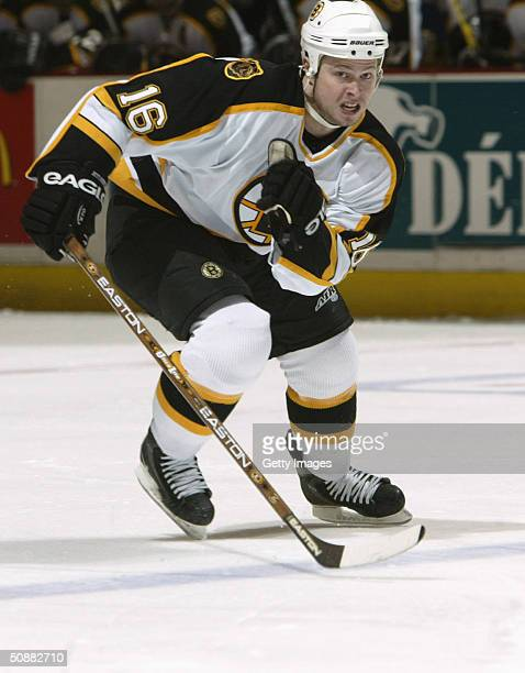 Andy Hilbert of the Boston Bruins skates into the offensive zone during game four of the 2004 NHL Eastern Conference Quarterfinals against the...